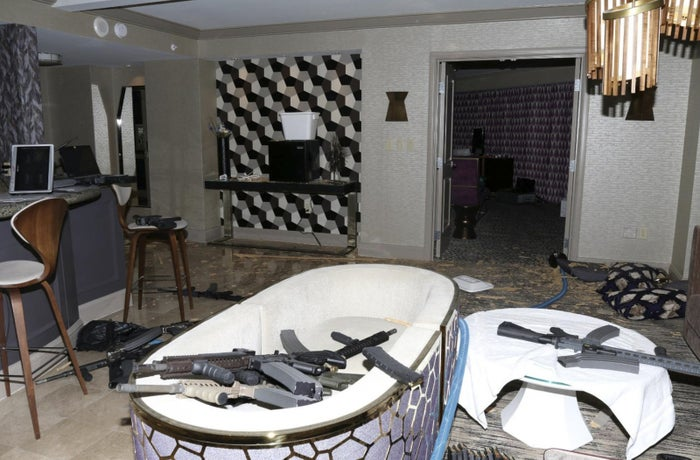 Guns strewn about Paddock's hotel room after the shooting.