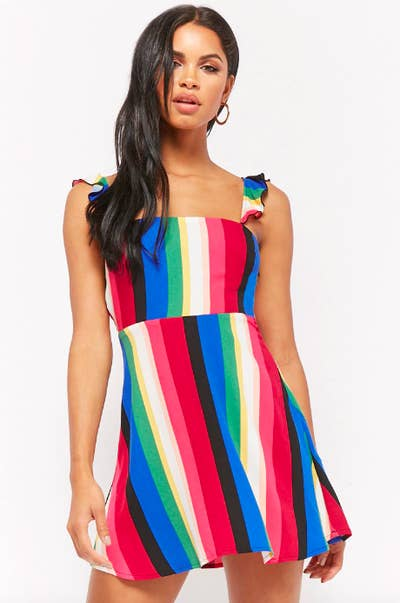 7c704a77f A multicolor-striped mini dress that'll give Rainbow Brite a run for her  money.