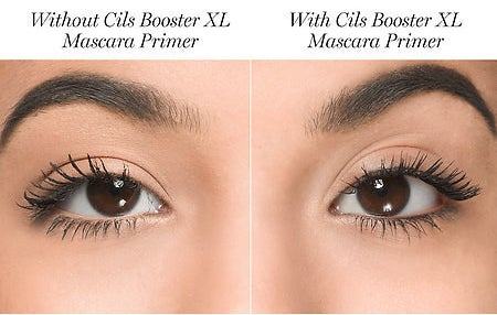 Model with mascara on showing the difference without the primer: without clumpy and sparser looking, with totally clump free
