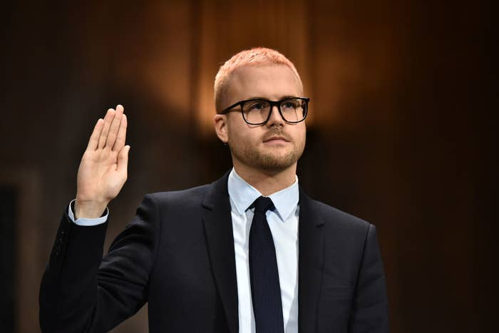 Former Cambridge Analytica employee Christopher Wylie is sworn in before he testifies at the Senate Judiciary Committee on Cambridge Analytica and data privacy on Capitol Hill on Wednesday.