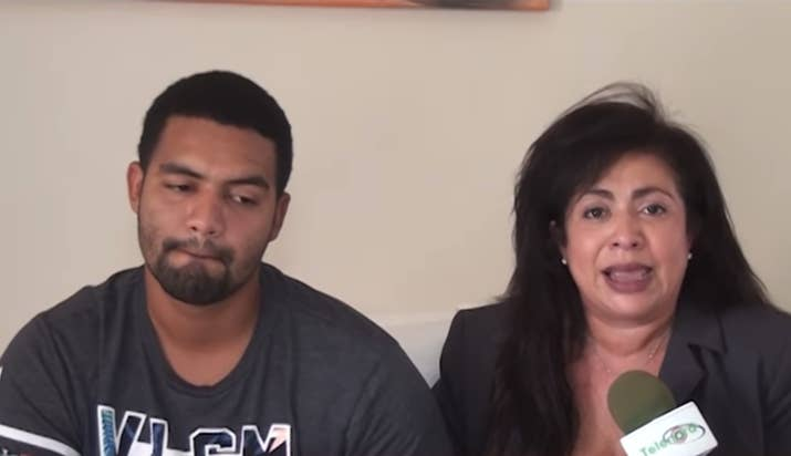 Marlon Martinez and his mother, Marlin, hold a press conference.