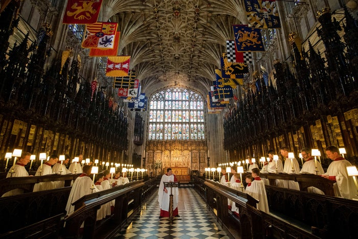 St. George's Chapel Choir rehearses before the wedding of Prince Harry and Meghan Markle in Windsor, Britain, on May 14.