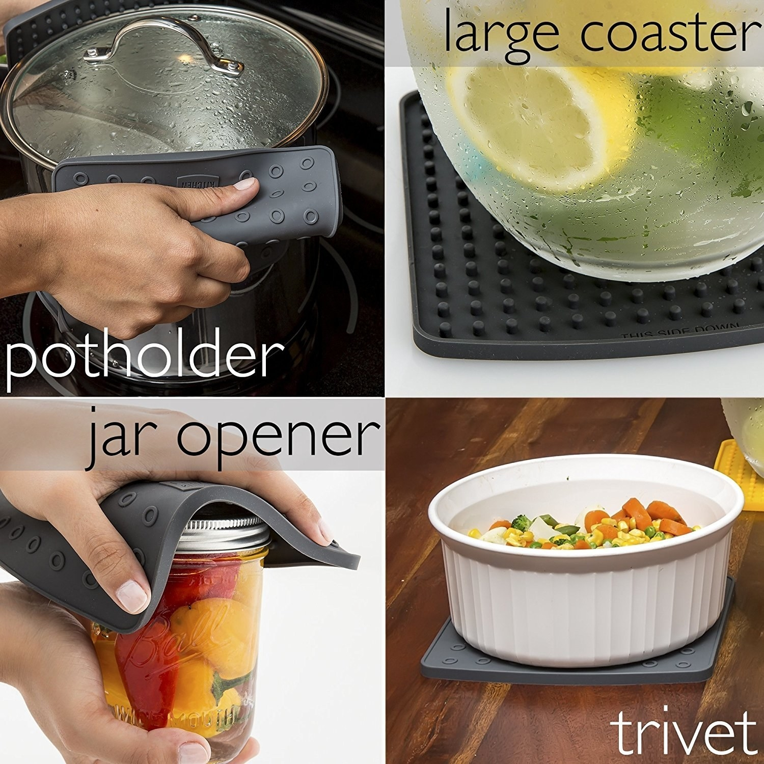 a photo set displaying all of the different uses for the trivet