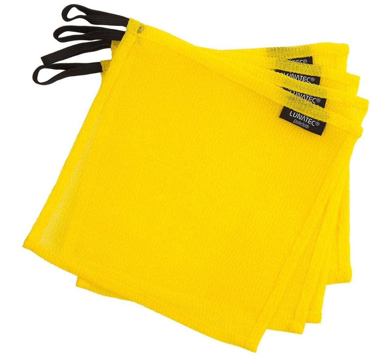four yellow dishcloths