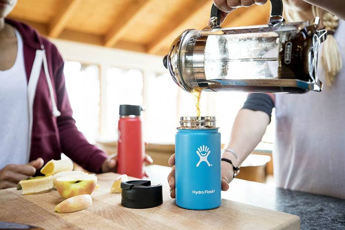 "Promising review: ""I work in the coffee industry and have had many tumblers over the years. Most leak and/or break apart within a short period of frequent use. Other stainless-steel tumblers can be difficult to clean or leave lingering odors. The biggest turn-off for most travel mugs is the metallic taste that transfers as you take each sip. I was pleasantly surprised to find my Hydro Flask doesn't have these flaws. When I drink my beverage of choice, it tastes delicious! No metallic taste or dribbles from the mug. I love the feel of the design and definitely appreciate that it's leak-proof! It keeps hot for hours and is easy to clean. It isn't cheap but is by far the best to-go cup I've ever had. I already bought another my another for my husband."" —Daily NessGet it from Amazon for $21.95+ (available in four sizes and 15 colors)."