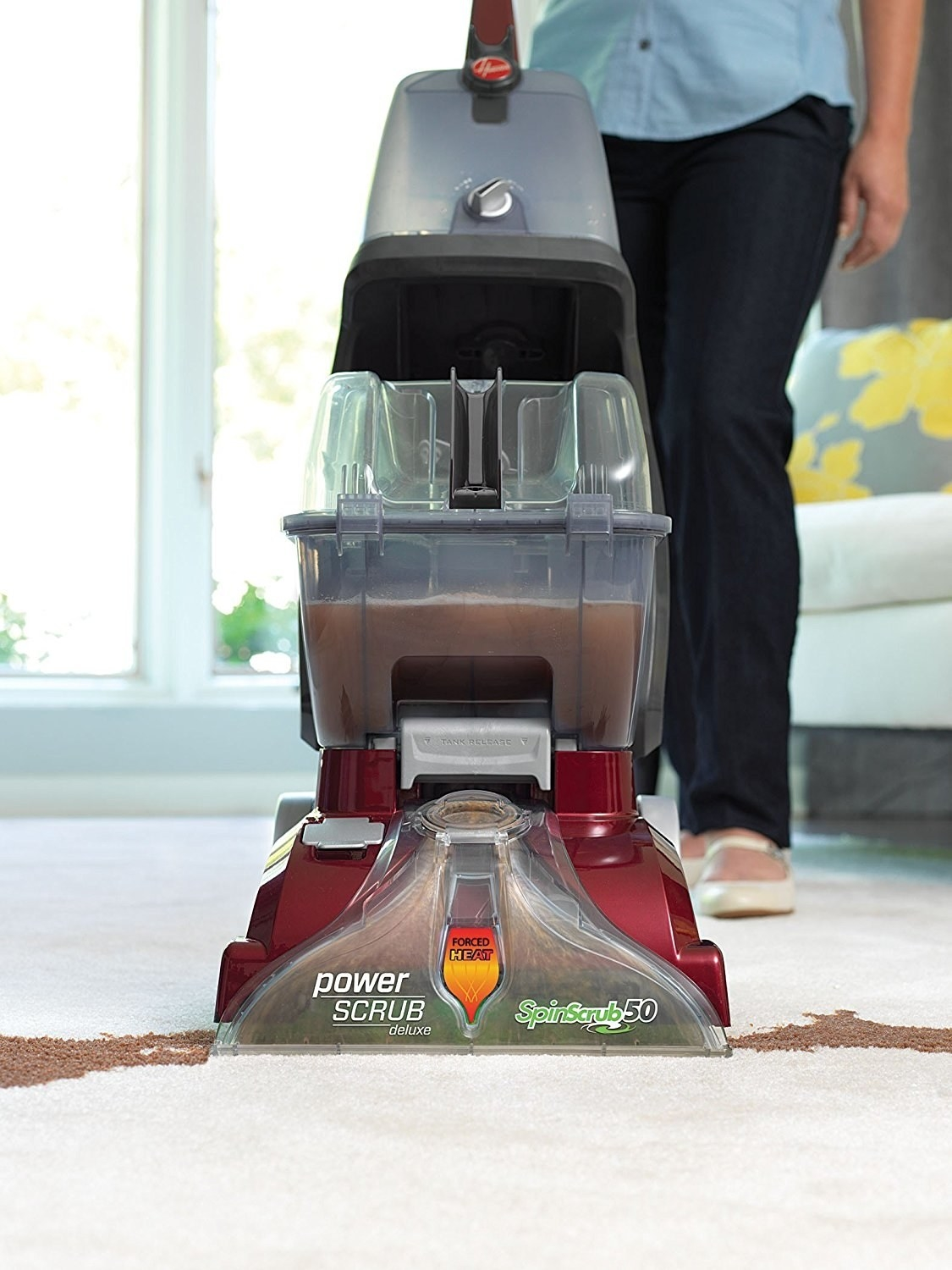 "Promising review: ""I got this because I needed something to clean my carpets and didn't want to have to get a separate machine for my hard floors. This does a phenomenal job on my carpets! Leaves them clean and not too damp so they dry quickly. I was surprised how well this machine did on my kitchen tile with nothing but a squeegee attachment. It got the floor clean and did not leave behind too much water! Highly recommended."" —Ali Price: $129.99+ (available with different features)"