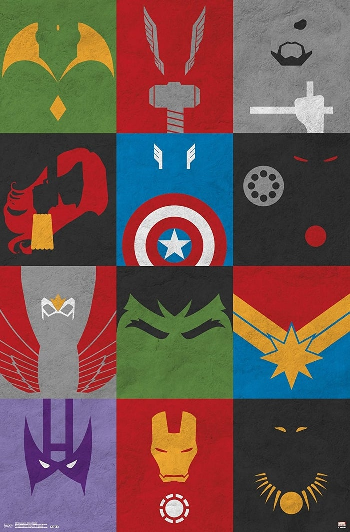 """Superheroes featured (from top to bottom) are Vision, Thor, Nick Fury, Black Widow, Captain America, War Machine, Falcon, Hulk, Captain Marvel, Hawkeye, Iron Man, and Black Panther. The poster measures 22.375"""" x 34"""".Promising review: """"This is a super funky, cool take on Marvel classics. It is a nice size and spruces up my son's room."""" —M&MGet it from Amazon for $9.95+ (also available framed)."""