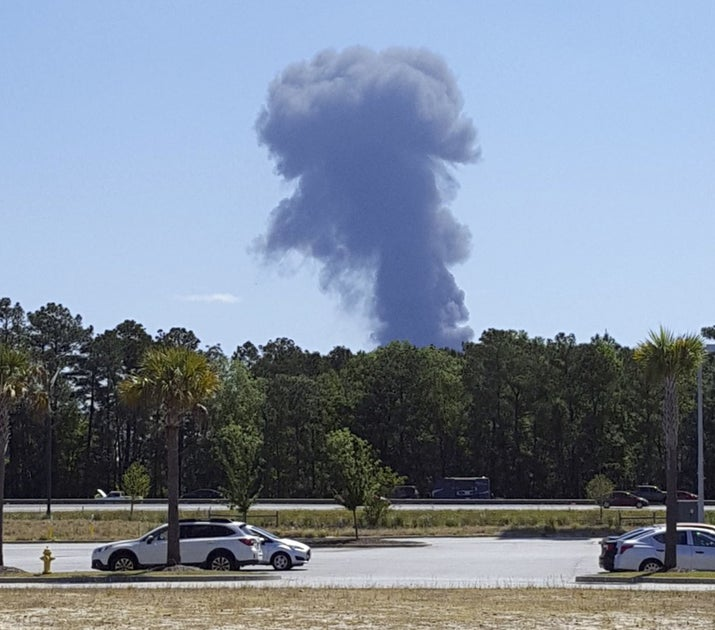 Smoke rises from the crash site on May 2, 2018.