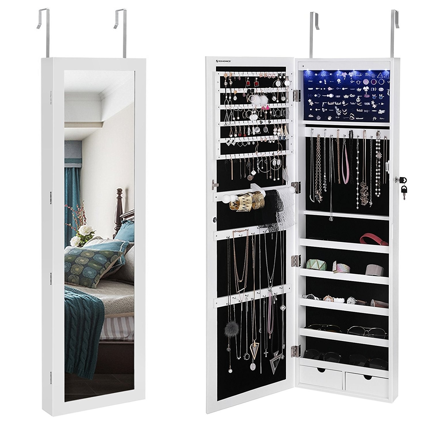 "This organizer can hang over the door or on a wall. It has battery powered LED lights inside to help you see all your jewelry and a lock to keep everything safe.Promising review: ""This is one of those rare products I am very excited about! It really lived up to the hype and great reviews. I recently had a necklace of importance go missing on one of my days a cleaning crew came in where a new employee was with my regular crew. I needed some way to lock up my valuable and also very sentimental jewelry pieces (this is not burglar-proof by any means). I had a necklace tree, earring tree, and three different jewelry boxes and my husband had two boxes of cuff links that I also put into this cabinet. There is so much room in this very organized cabinet. It has loads of earring space, necklace space, and the shelves are nice for miscellaneous items like sunglasses, watches, pins, etc. It has two little drawers for miscellaneous items and a pouch under the right side necklace rack. It has several different heights you can hang it at if you are using the over the door mount. The LED lights are awesome and illuminate really well. It came well wrapped up in plastic and inside a styrofoam box and not a scratch was on it. I LOVE this and highly recommend."" —Cindi L. Price: $127.99 (available in two colors)"