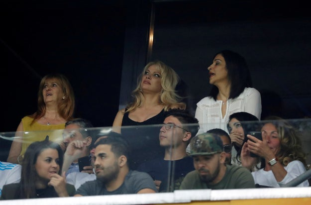 Here she is at one of Rami's games just last month. People were a bit confused about the status of Anderson's relationship with Assange.