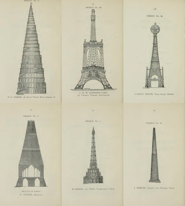 "Here are 6 of the 68 drafts under consideration for the ""Great Tower for London"" in 1890."