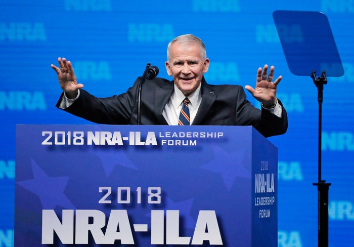 Oliver North at an NRA convention in Dallas in 2018.