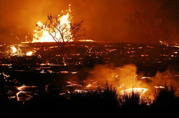 Lava erupts from fissures on May 18 along Kilauea volcano's lower East Rift Zone.