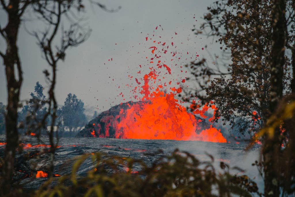 Lava seen spraying from a fissure Thursday.