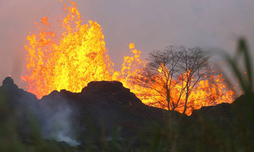 Lava shoots into the air from fissures along the volcano's lower East Rift Zone.