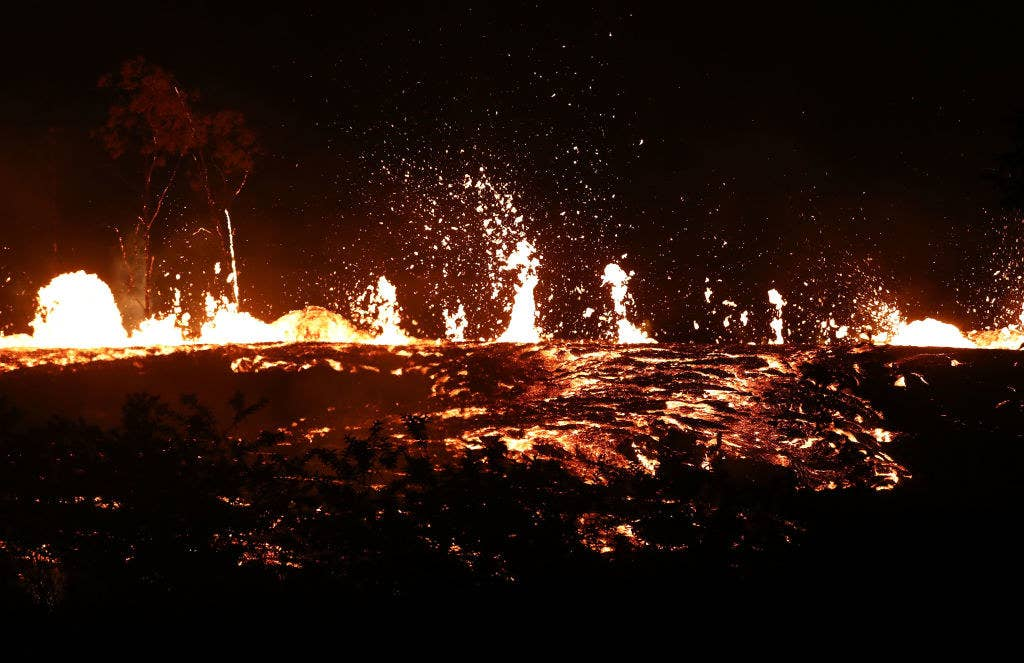 Lava shoots into the air overnight.