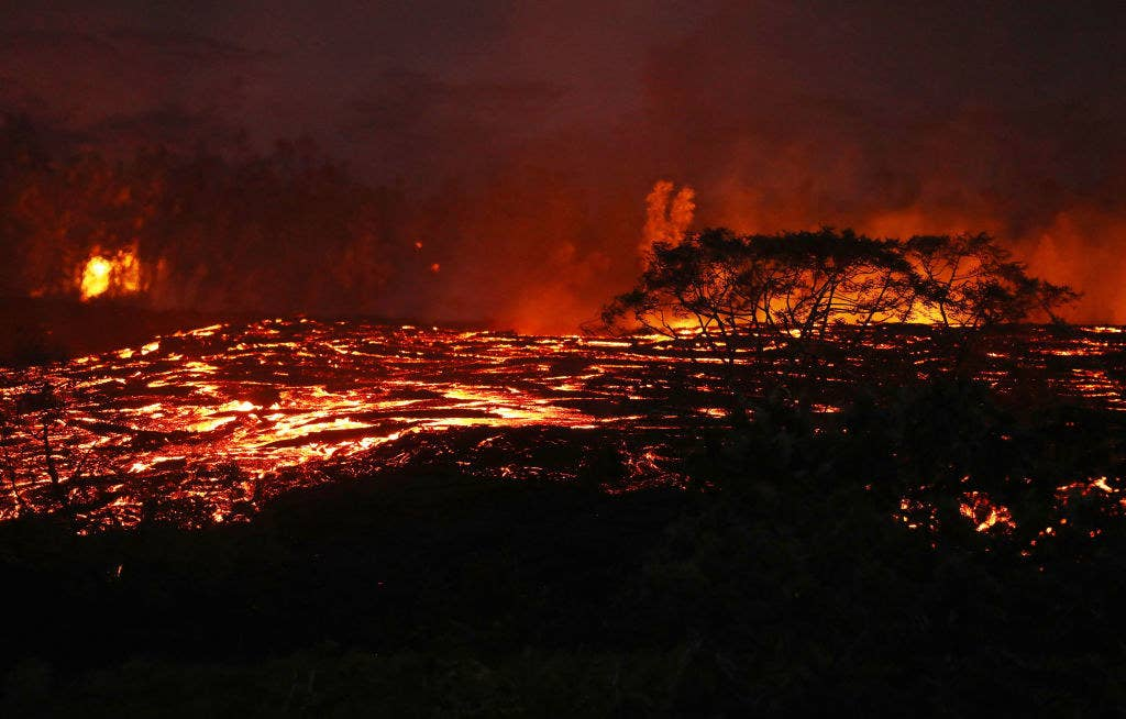 Lava from a Kilauea volcano fissure flows on Hawaii's Big Island on Friday night.