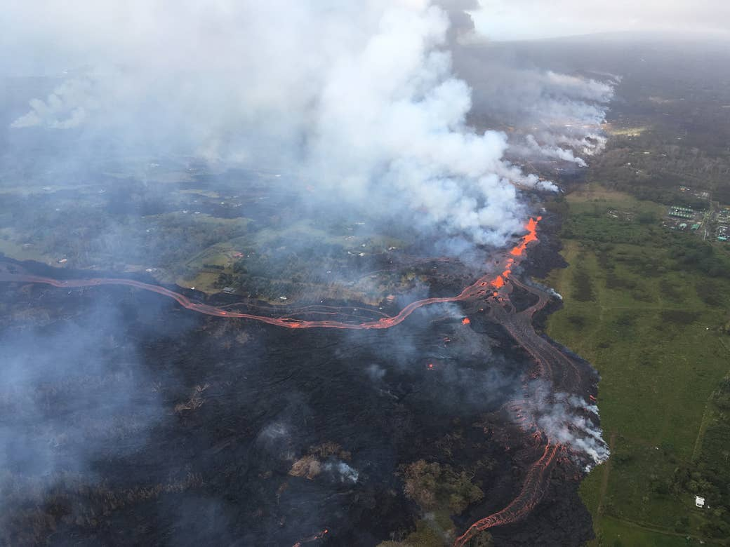 Here, the lava flow splits into two channels as it moves toward the ocean.