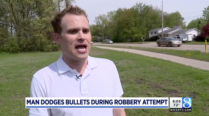 """Kluting told BuzzFeed News he was out running errands and shopping on May 14 when he decided to walk home.""""I took the same route that I've walked home hundreds of times,"""" he said. Kluting saw a man approaching him and it set off alarms in him instantly, he recalled. """"It's like a premonition when you feel a threat,"""" he said. And his instincts were unfortunately correct.Kluting said the man covered his mouth with a bandana and pulled a gun out of his waistband and pointed it directly at him. The robber then demanded Kluting hand over a Louis Vuitton bag he was carrying that day."""