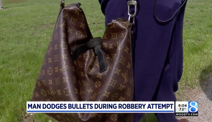 """""""I wasn't about ready to relinquish it to some thug that was going to demand it from me ... I paid $1,700 for it. I love Louis Vuitton,"""" Kluting first told local station WOOD-TV. """"I saw this bag long before I could buy it and I saved up to buy it. It represents me.""""Kluting told BuzzFeed News after relaying all of this to the robber, the gunman fired two shots next to him and demanded the bag again. Kluting said he saw the shell casings fly out of the gun. """"That's when I turned and ran north. He pursued me that time and he fired two more shots. On the fourth one his gun jammed and he had to reload it."""" Kluting said he was scared, and was """"waiting for the [shot] to hit"""" him, when he looked back and saw the perpetrator trying to flee the scene.""""I didn't have time to think — I just reacted,"""" he recalled."""