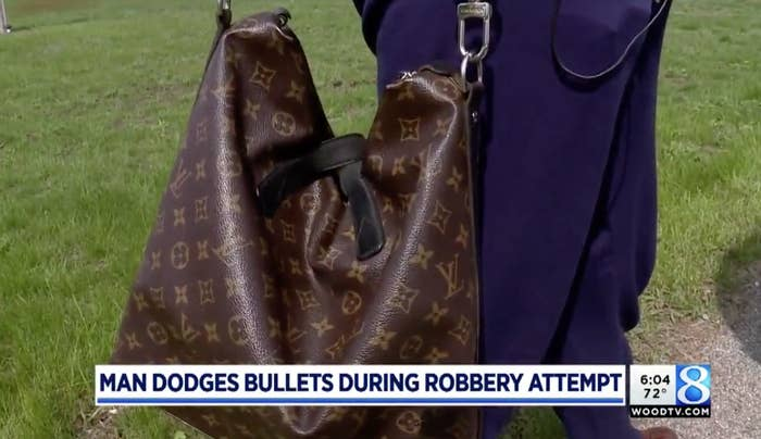 """&quotI wasn't about ready to relinquish it to some thug that was going to demand it from me ... I paid $1,700 for it. I love Louis Vuitton,&quot Kluting first told local station WOOD-TV. &quotI saw this bag long before I could buy it and I saved up to buy it. It represents me.""""Kluting told BuzzFeed News after relaying all of this to the robber, the gunman fired two shots next to him and demanded the bag again. Kluting said he saw the shell casings fly out of the gun. &quotThat&#x27s when I turned and ran north. He pursued me that time and he fired two more shots. On the fourth one his gun jammed and he had to reload it.&quot Kluting said he was scared, and was &quotwaiting for the [shot] to hit&quot him, when he looked back and saw the perpetrator trying to flee the scene.&quotI didn&#x27t have time to think — I just reacted,&quot he recalled."""