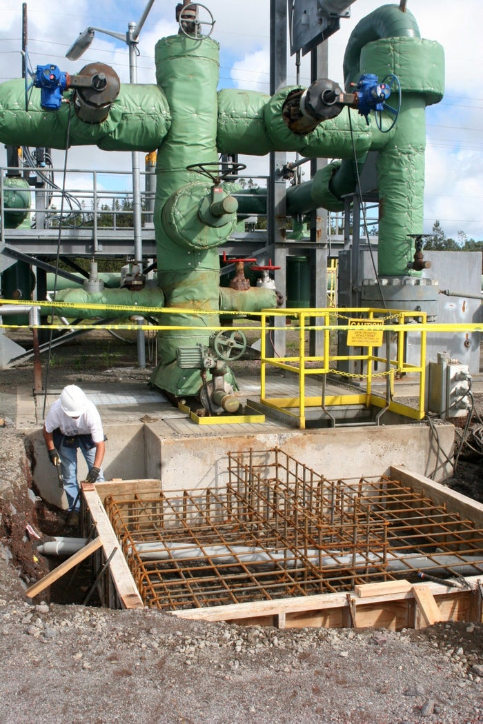 A construction crew member is shown March 6, 2007, working near well #6 at Puna Geothermal Venture in Puna.