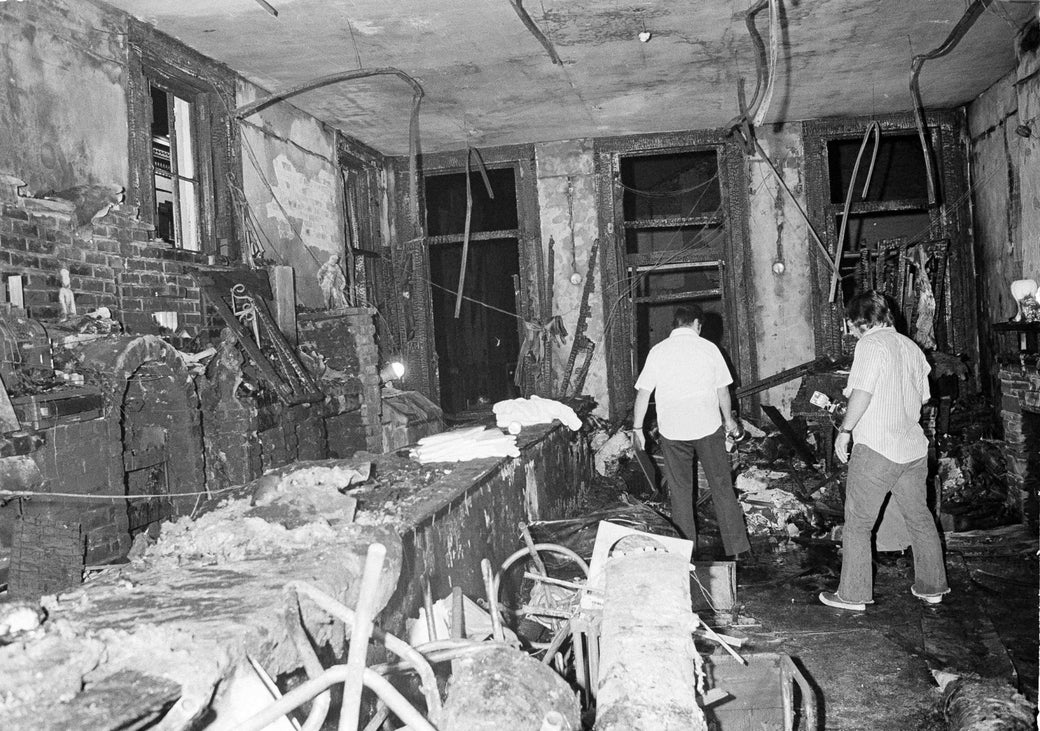 A view inside the Up Stairs Lounge following the fire that burned through the space on the night of June 24, 1973.