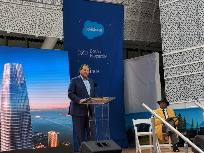 Marc Benioff (left) and former San Francisco mayor Willie Brown at the opening of the new Salesforce Tower.