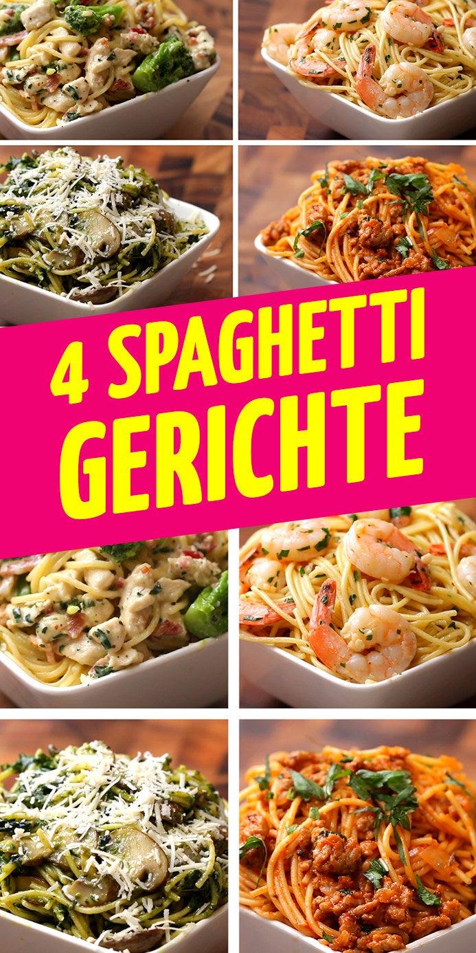 ZUTATENSPAGHETTI ALFREDO MIT BACON UND BROKKOLI 2 Hühnerbrüste1TL Salz1TL Pfeffer2 Knoblauchzehen150g Brokkoli500ml Milch110g Parmesan15g Petersilie4 Streifen Bacon250g SpaghettiKNOBLAUCH-SHRIMPS-SPAGHETTI45g Butter3 Knoblauchzehen450g Garnelen1TL Salz1TL Pfeffer1/2 Zitrone1TL Chili-Pulver15g Petersilie250g SpaghettiSPAGHETTI MIT PESTO, SPINAT UND CHAMPIGNONS150g Spinat65g Champignons1TL Salz1TL Pfeffer220g Pesto50g Parmesan250g SpaghettiSPAGHETTI MIT TOMATEN, BASILIKUM UND HACKFLEISCH250g Hackfleisch1/2 Zwiebel1TL Salz1TL Pfeffer500ml Tomaten-Sauce250ml Milch10g Basilikum250g Spaghetti