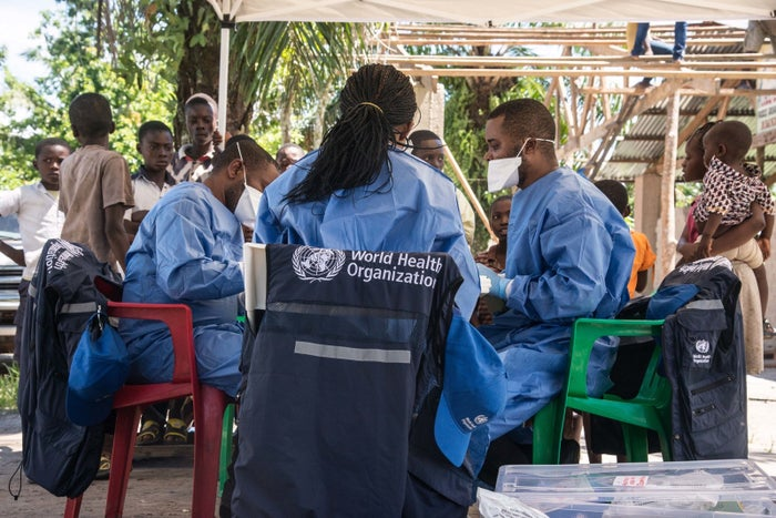 WHO members prepare to launch an Ebola vaccination drive on the outskirts of Mbandaka earlier this week.