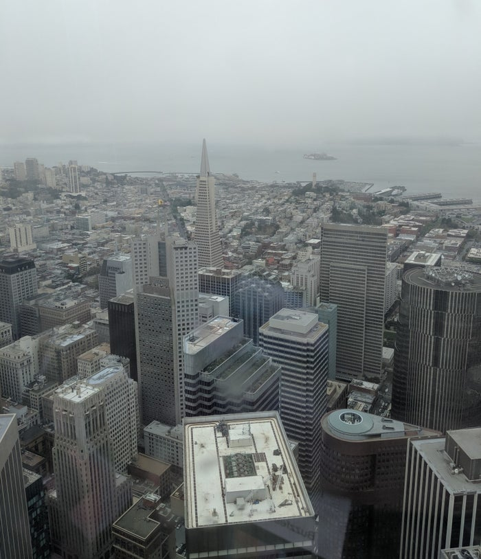 The Transamerica building as seen from the top of Salesforce Tower.