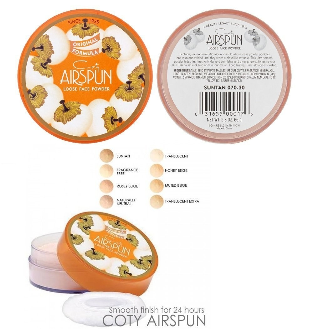 An image of the Coty Airspun powder packaging, plus a list and examples of the shades available
