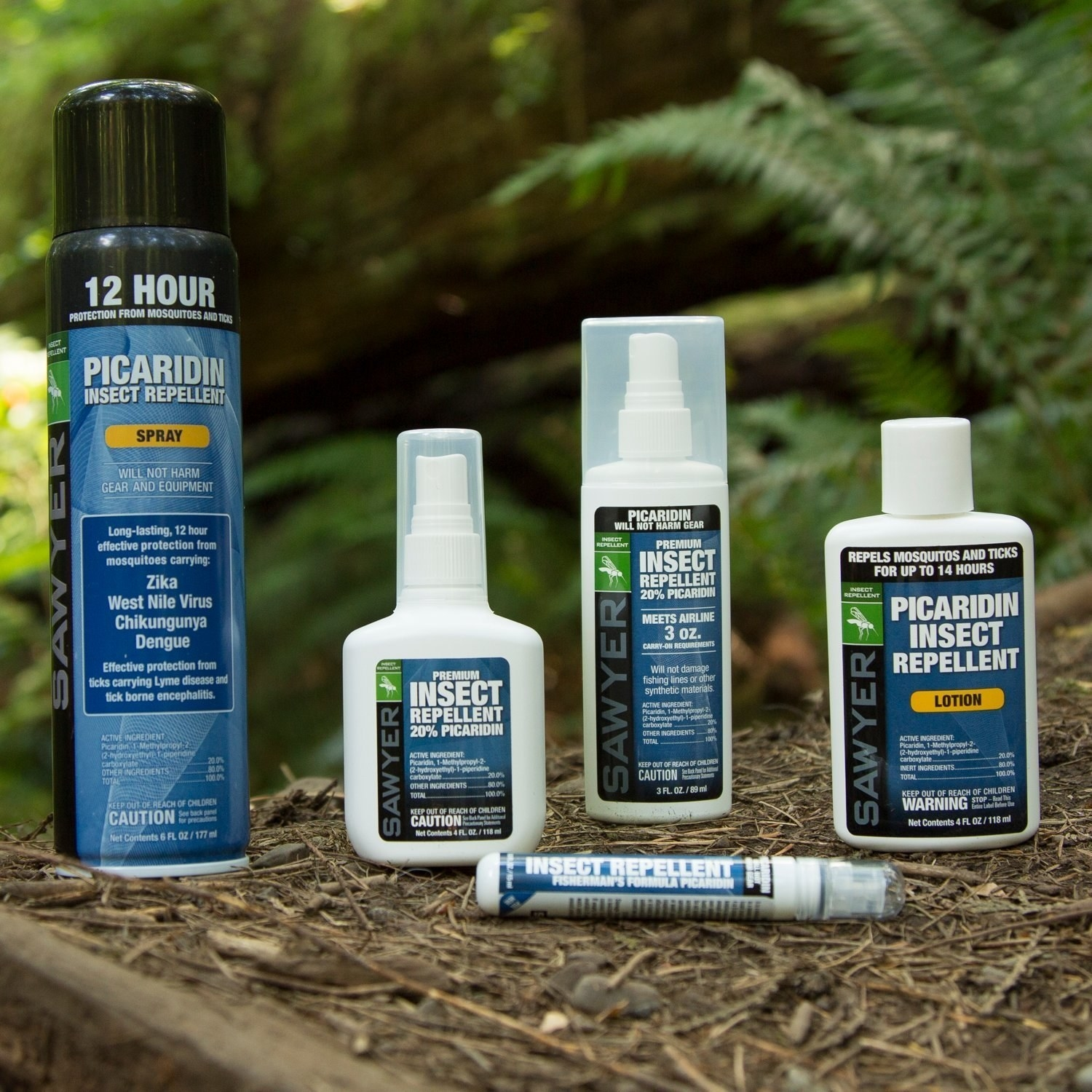 """Five different containers of the repellant: a 12 hour spray, two sizes of a """"regular"""" spray, a lotion, and a tiny travel spray"""