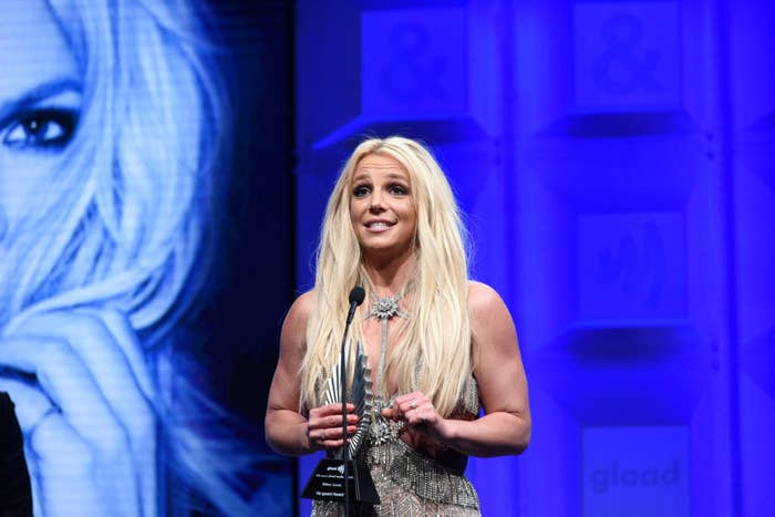 Britney Spears accepts the Vanguard Award onstage at the 29th Annual GLAAD Media Awards on April 12, 2018.