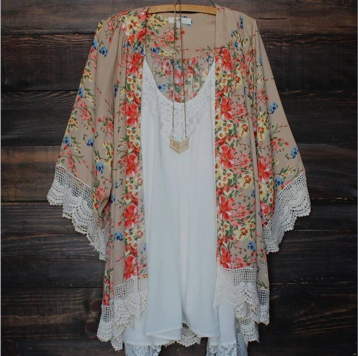 aedec2d9 9. A kimono-style top that would look so stylish over a basic T-shirt and  jeans.