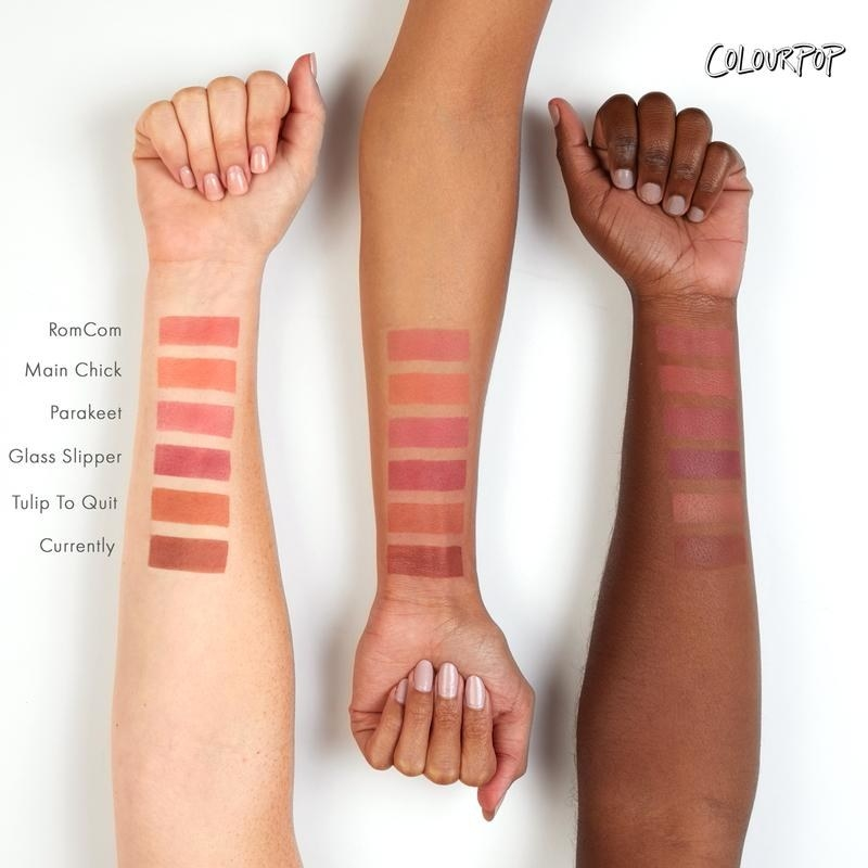 Three arms with different skintones, each with six Colourpop blush swatches