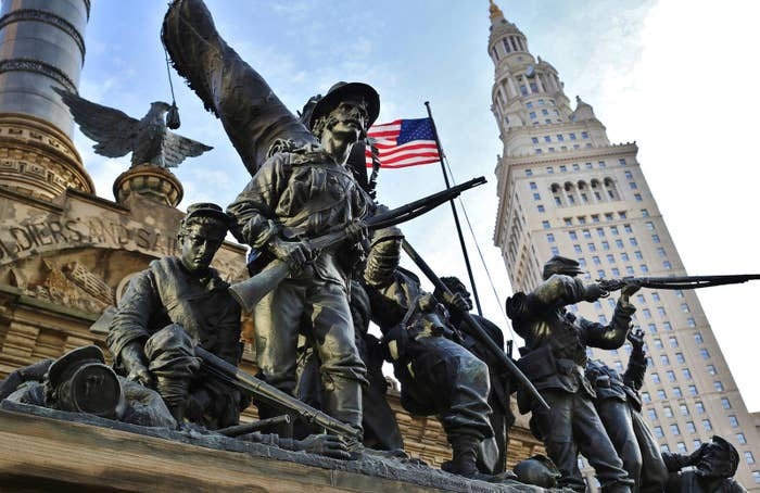 Cuyahoga County Soldiers' and Sailors' Monument commemorates Civil War soldiers and sailors. Located in the southeast quadrant of Public Square in downtown Cleveland, it opened July 4, 1894.