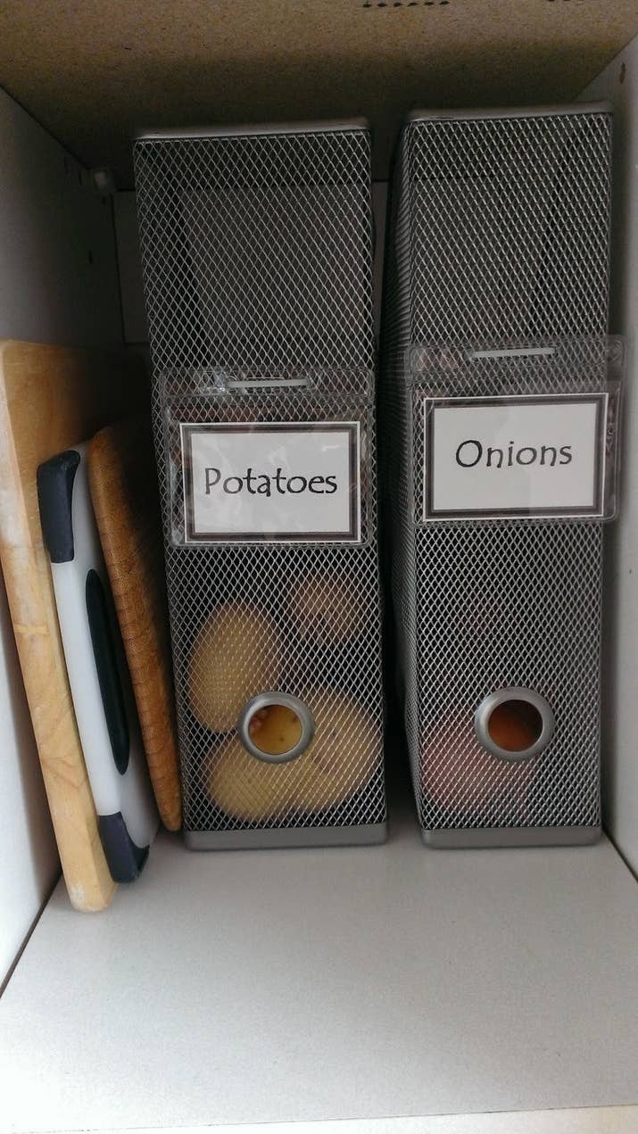 Just *don't* store your onions and potatoes right next to each other — onions go out on the countertop. If you store 'em together, both your potatoes and onions will spoil faster. From Mimi's Crafty World. Get similar organizers on Amazon: $16.25 for a set of two nesting mesh organizers, or $11.96 each for a single mesh organizer.