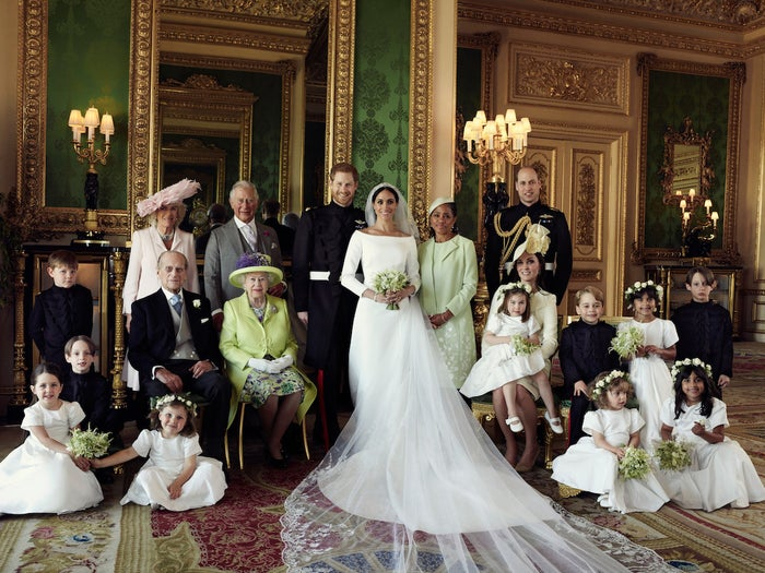 On Monday, three official wedding photographs featuring Meghan, Harry, and the rest of the Royal family were released.