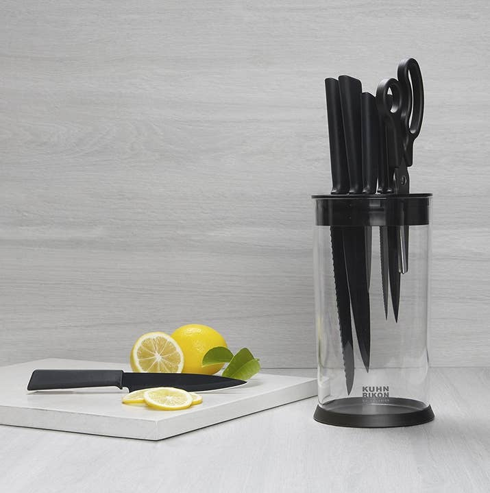 It's easy to take apart and clean, too. You just insert your knives into thin plastic slots at the top, and the handle prevents them from falling in. Get it on Amazon for $29.95+ (available in round and rectangular).