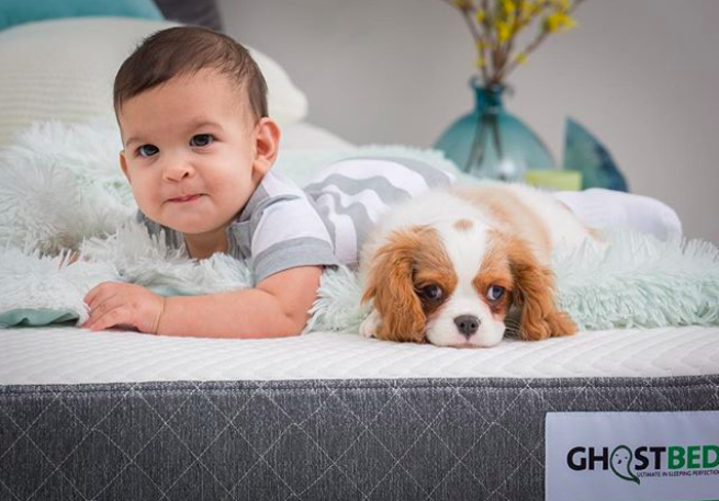 baby and puppy chill on mattress