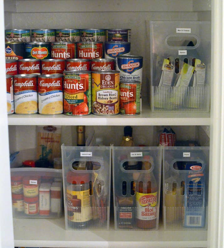 Labels are great, but if your bins aren't transparent, you might just find yourself forever reading label after label to ever find anything. This way, the bins and the labels can ~work together~. From Stacy Graves Interiors. Get the bins she used for $3.99+ at The Container Store (small, medium, and large sizes available). Or get a pack of four similar bins on Amazon for $49.99.