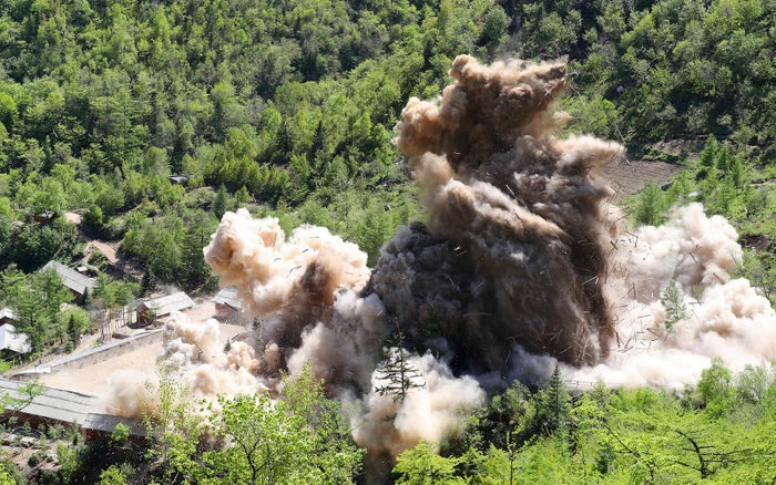 A command post at the Punggye-ri nuclear test ground is blown up during the dismantlement process in North Korea, on May 24.