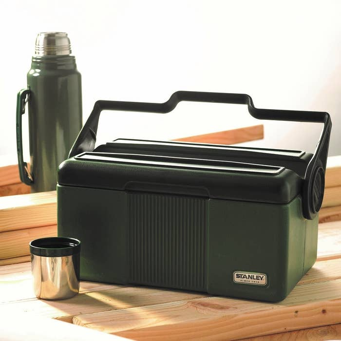 """Great for dads who work outdoors, or for the family camping trip! Promising review: """"I use this as my hunting/fishing lunch box, and I use it at work. I've knocked it off of my hood onto the hard ground, I've driven off with it on the roof and it's fallen off of the vehicle, it's rolled around in the bed of my truck because I forgot to put it in the tool box, etc. It looks rough, but it is still going strong. As far as keeping cool, it is a fold over design cooler. I think this novel design is better personally; because the top is closer to the items inside, thus less air contact. With judicious packing techniques, using 'reclaimed' lunch meat containers of odd sizes, I can pack plenty of food for my 12 hour shift. I am able to carry a quart of coffee, plus food in man-proof set-up."""" —D.K.Get it from Amazon for $59.96."""