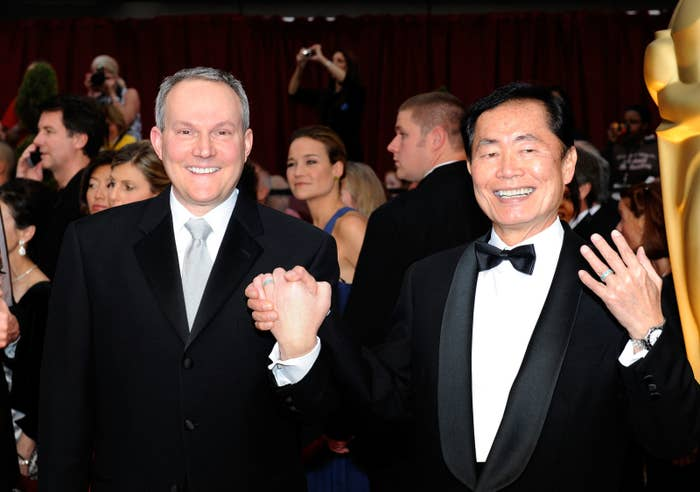 Actor George Takei (right) and husband Brad Altman arrive at the 81st Annual Academy Awards in 2009 in Los Angeles.