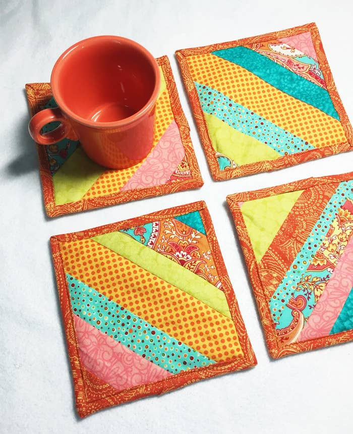 Do you have that special best friend who will drop everything and will be at your side within moments? Does the same bestie love a good cup of coffee or a glass of wine while you catch up, laugh or cry together? These quilted coasters (aka mug rugs) will brighten her day and her drink. More best friend gifts can be found at the Sew Happy Quilting Etsy shop.