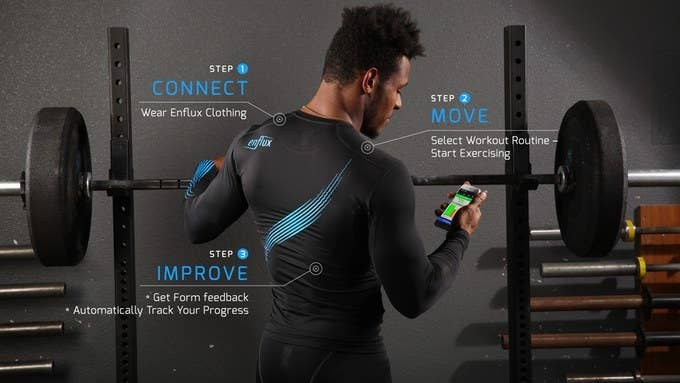 This smart clothing comes with 10 tiny motion sensors located in the arms and legs that monitor your 3D movement of your entire body, and transmit date to your smartphone app.