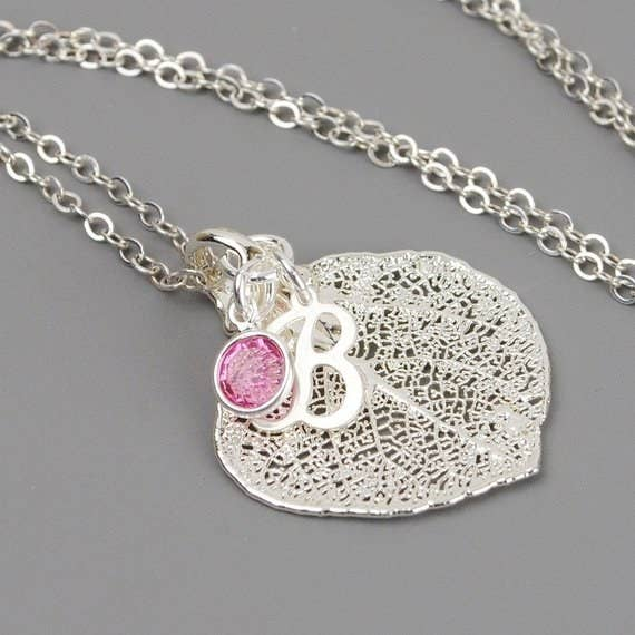 A personalized gift makes a great gift for your best friend. If you are looking something unique, this birthstone necklace with initial is perfect. The leaf necklace can be customized with the initial and birthstone of your choice. The leaf pendant is a real aspen leaf dipped in sterling silver. The sterling silver chain can be any length you choose. Give her something she will wear for years to come from MyDistinctDesigns. After all she is your best friend.