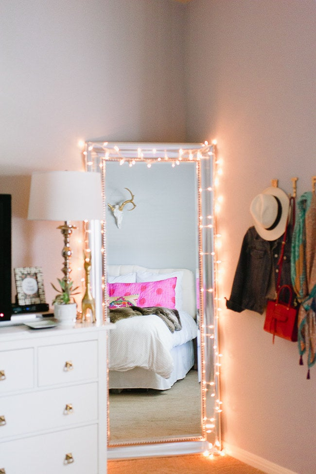 Or drape them around a small mirror so it can double as a selfie light! See the mirror here.