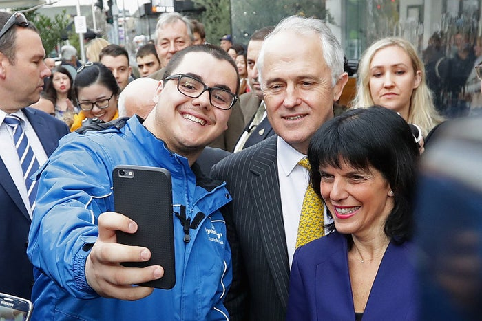 Banks joins in for a selfie with prime minister Malcolm Turnbull.